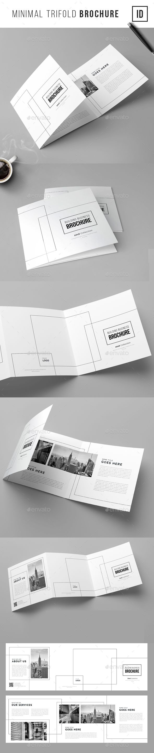 Minimal Trifold Brochure  #professional #real estate #simple #square #trifold…