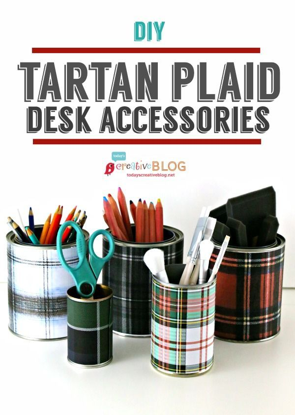DIY Tartan Plaid Desk Accessories | Easy Craft with printable Tartan paper. TodaysCreativeLife.com  #tartan #diycrafts #easycrafts