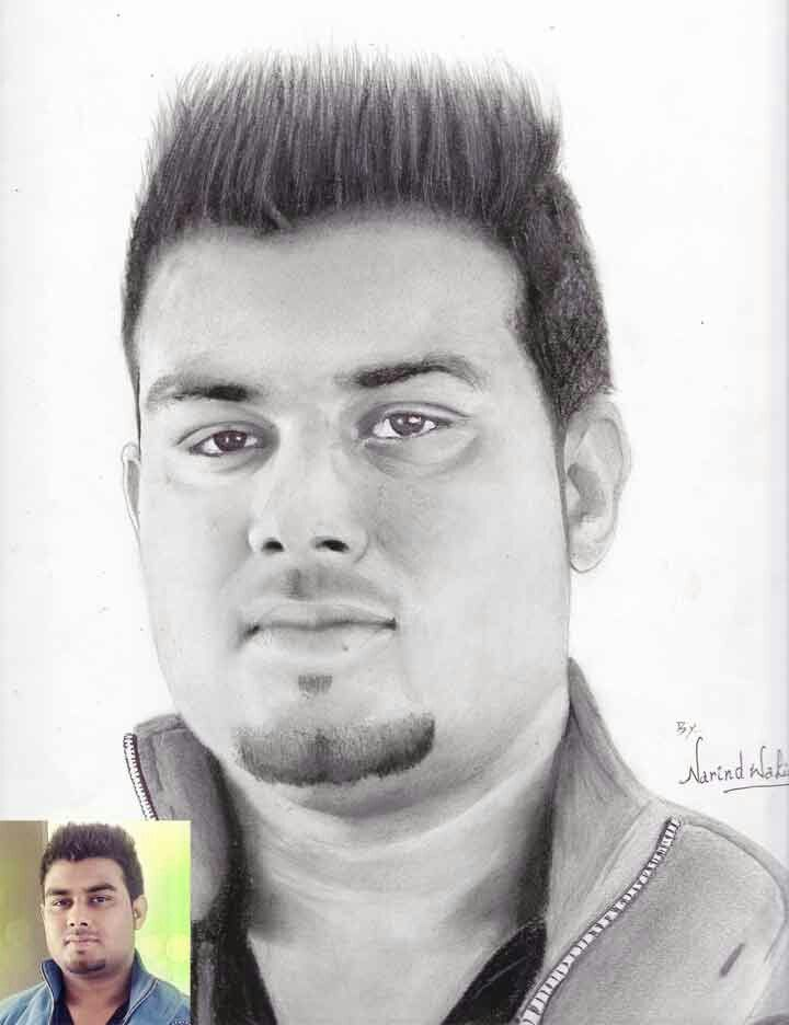 Charcoal graphite on paper my brothers portrait patarajalandhar