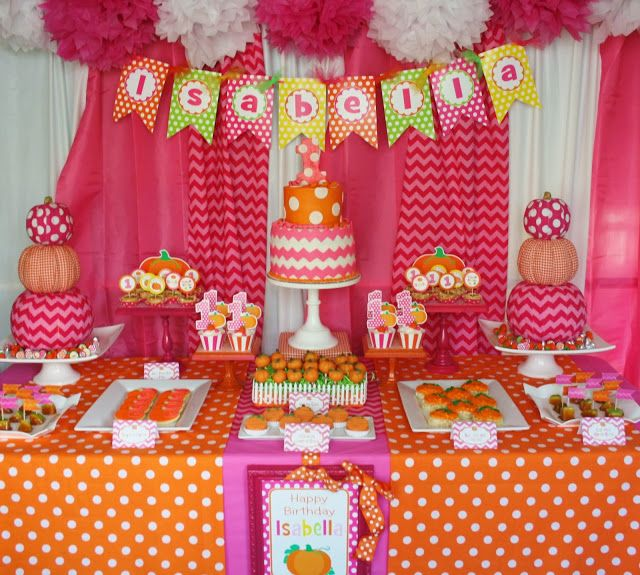 Pink Pumpkin Party Sweet Table for little girls with late October birthdays.  Hmm.
