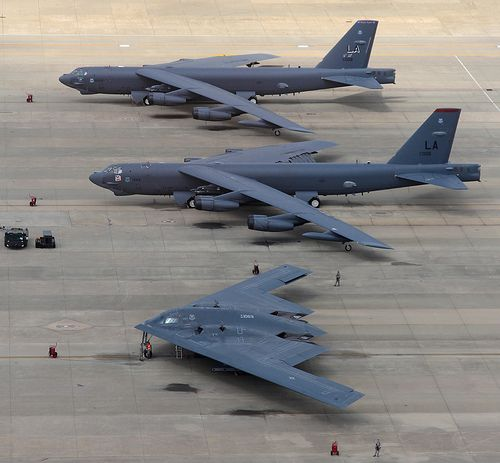 Boeing B-52 Stratofortress and Northrop Grumman B-2 Spirit Stealth Bomber. Death from above.