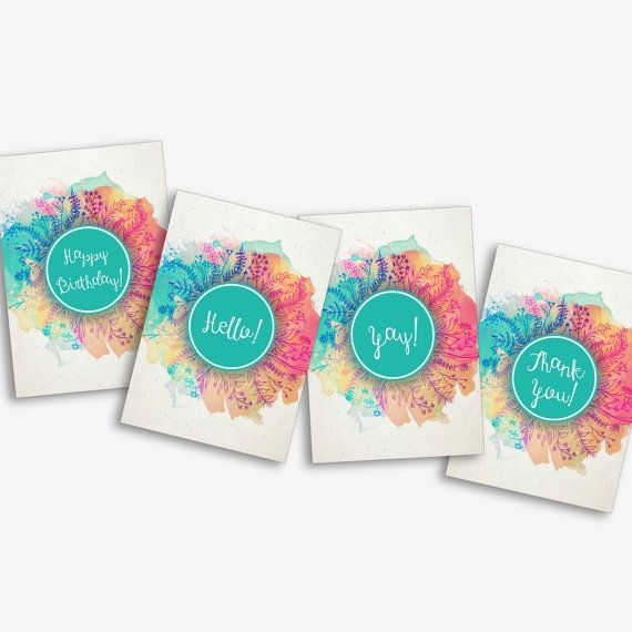 Pack of 8 All-Occasion Colour Splash Cards - Occasion Cards - Modern Card Sets - Hello - Yay - Thank You - Happy Birthday