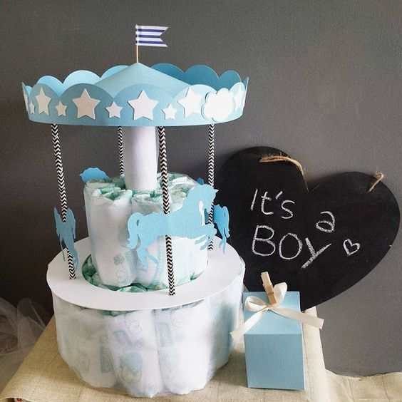 "Un giorno con Tablò: TORTA DI PANNOLINI ""CAROUSEL"" - diaper cake, diapers, pannolini, torta, baby, babyboy, giostra, carousel"