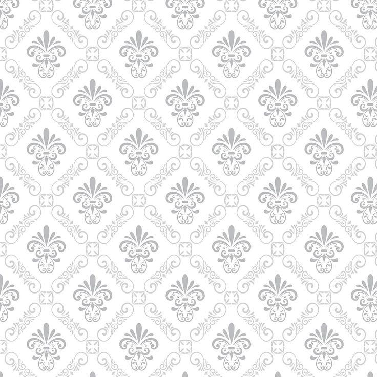 Papel de Parede Arabesco Prata e Cinza Sobre Branco - Papel de Parede Digital