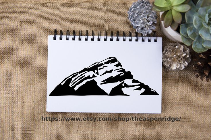 Mount Cascade clipart, Canadian Rockies, Banff mountain art, clip art, for commercial use, for personal use, mountain illustration, mtn art. Mountain clipart black and white