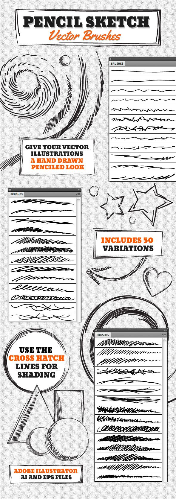 Vector Pencil Sketch Brushes for Adobe Illustrator #design #ai Download: http://graphicriver.net/item/vector-pencil-sketch-brushes/4630510?ref=ksioks
