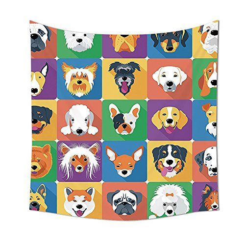 Dog Lover Decor Collection Dog Breeds Profiles Pets Shepherd Terrier Labrador Domestic Animals Illustration Bedroom Living Room Dorm Wall Tapestries Purple Green