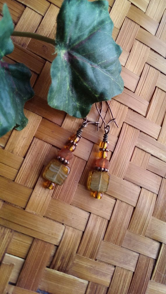 Green mojito glass Picasso window earrings by OurTreehouseTrinkets, $20.00