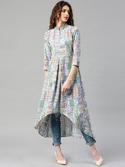 Multicoloured printed A-line kurta, has a mandarin collar, three-quarter sleeves, curved high-low hem #highlow #printed @looksgud