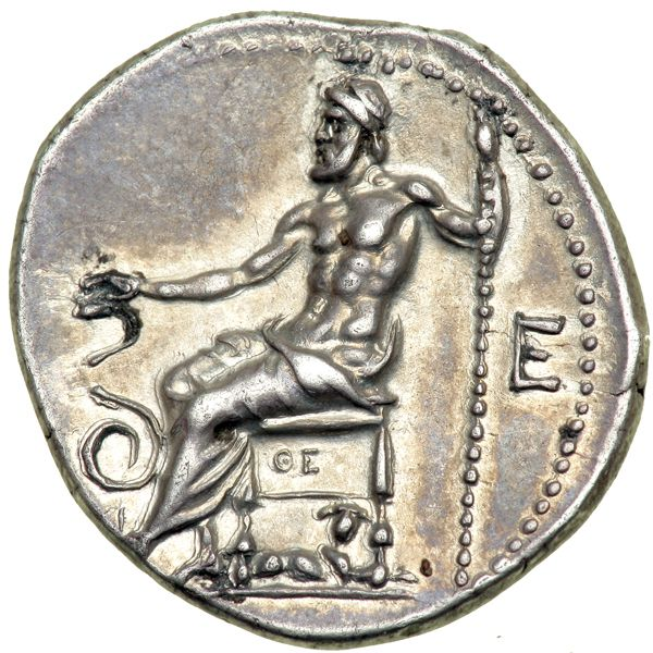 Superb Coin From The Birthplace Of AsclepiusThis silver drachm, struck circa 250-245 BC, is from the ancient city of Epidaurus (map) in Argolis, Greece. It displays the laureate head of Apollo Maleatas on the obverse. The reverse shows Asclepius (Asklepios) seated on a stool, holding a long scepter in his left hand and extending his right over the head of a serpent that coils before him. A hound is seated underneath his stool. This coin is probably the finest Epidaurus drachm known. The…