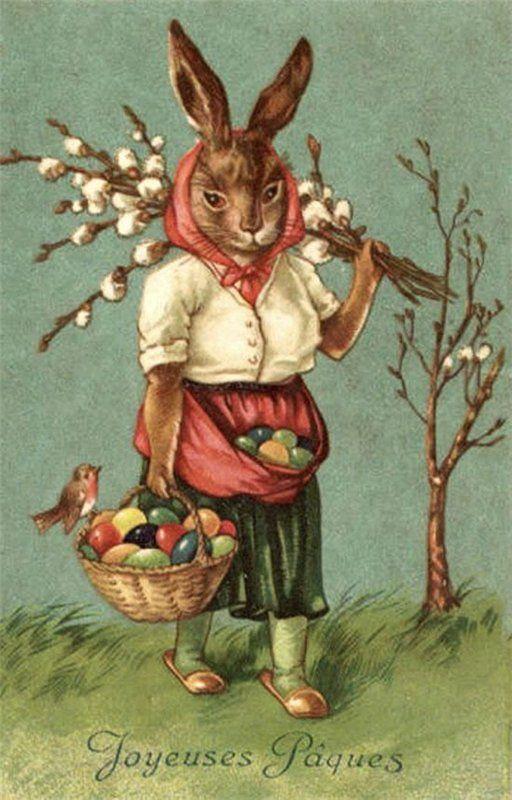 Открытка пасхальный заяц