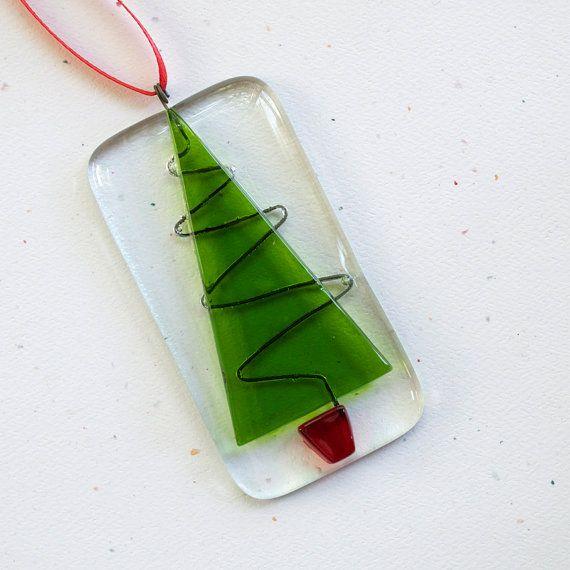054  Holiday Tree Ornament Glass Decoration by nivenglassoriginals