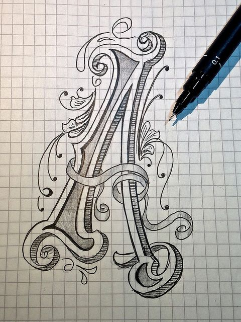 pinterest.com/fra411 #typography #lettering Sketch - Letter A for Alphabet