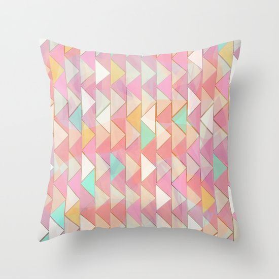 Pale Playful Chevron (8) Throw Pillow