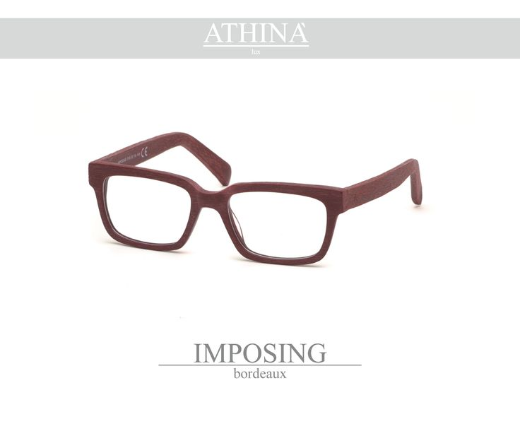 Mod. IMP2020V Spectacles totally made in top-qulity acetate of cellulose with a rectangular shape bordeaux coloured with veins.
