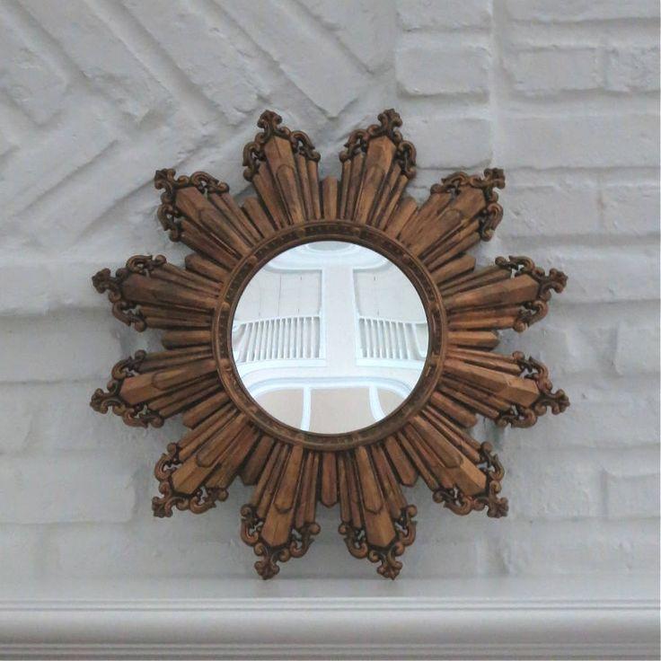 Vintage Large Gold Sunburst Mirror, 1950's Convex Burst Mirror, Mid-Century Gilt Burst Mirror, Hollywood Regency Gold Burst Wall Mirror by CaughtMyFancy on Etsy
