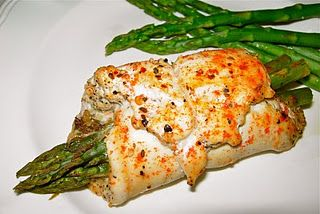 Chicken wrapped asparagus.