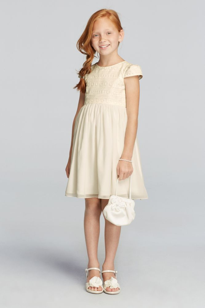 9381b9b5732 All Over Lace Short Sleeve A-line Dress - Ivory