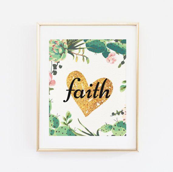 Printable Wall art Faith Floral Wall Art Scripture by BaloeDesigns