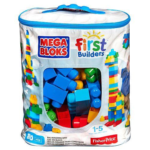 Mega Bloks, sac bleu de 80 pièces. 19.99$ Achetez-le: info@laboiteasurprisesdenicolas.ca