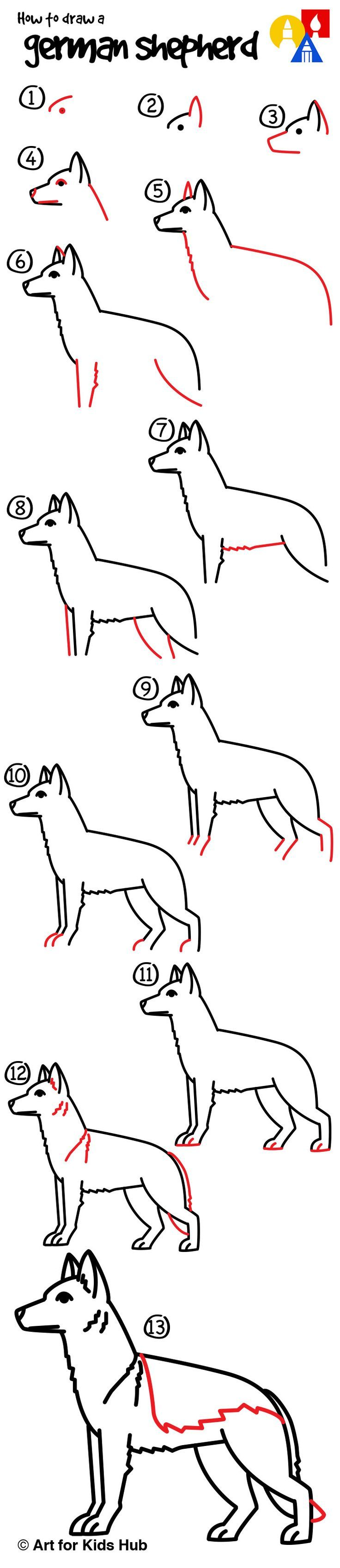 Learn how to draw a german shepherd with easy step by steps!