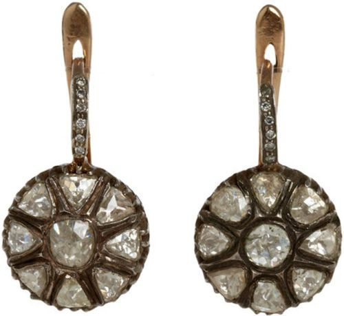 .925 SILVER VICTORIAN INSPIRED 1.50CTW ROSE/POLKY CUT DIAMOND SILVER EARRINGS