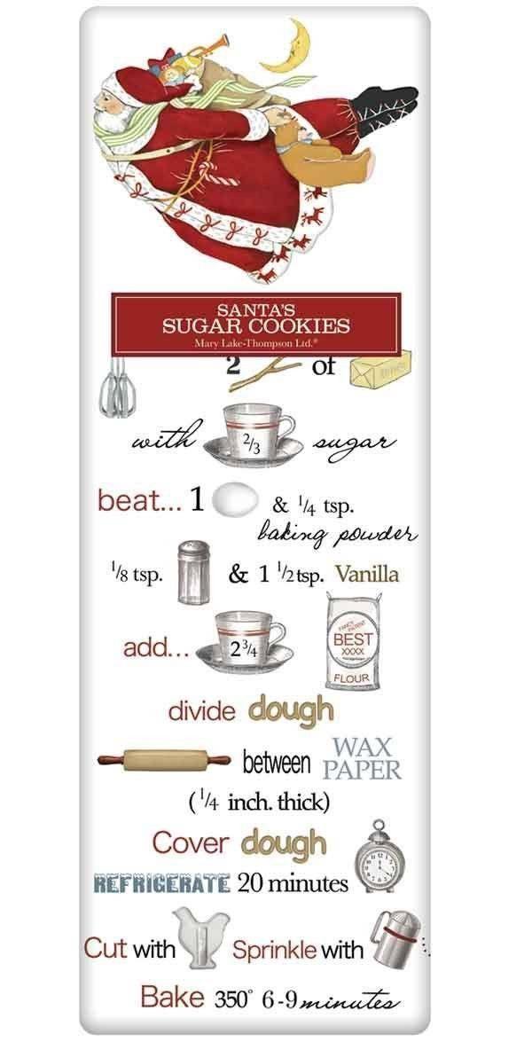 Flying Santa Old Fashioned Sugar Cookie Recipe 100% Cotton Flour Sack Dish Towel Tea Towel