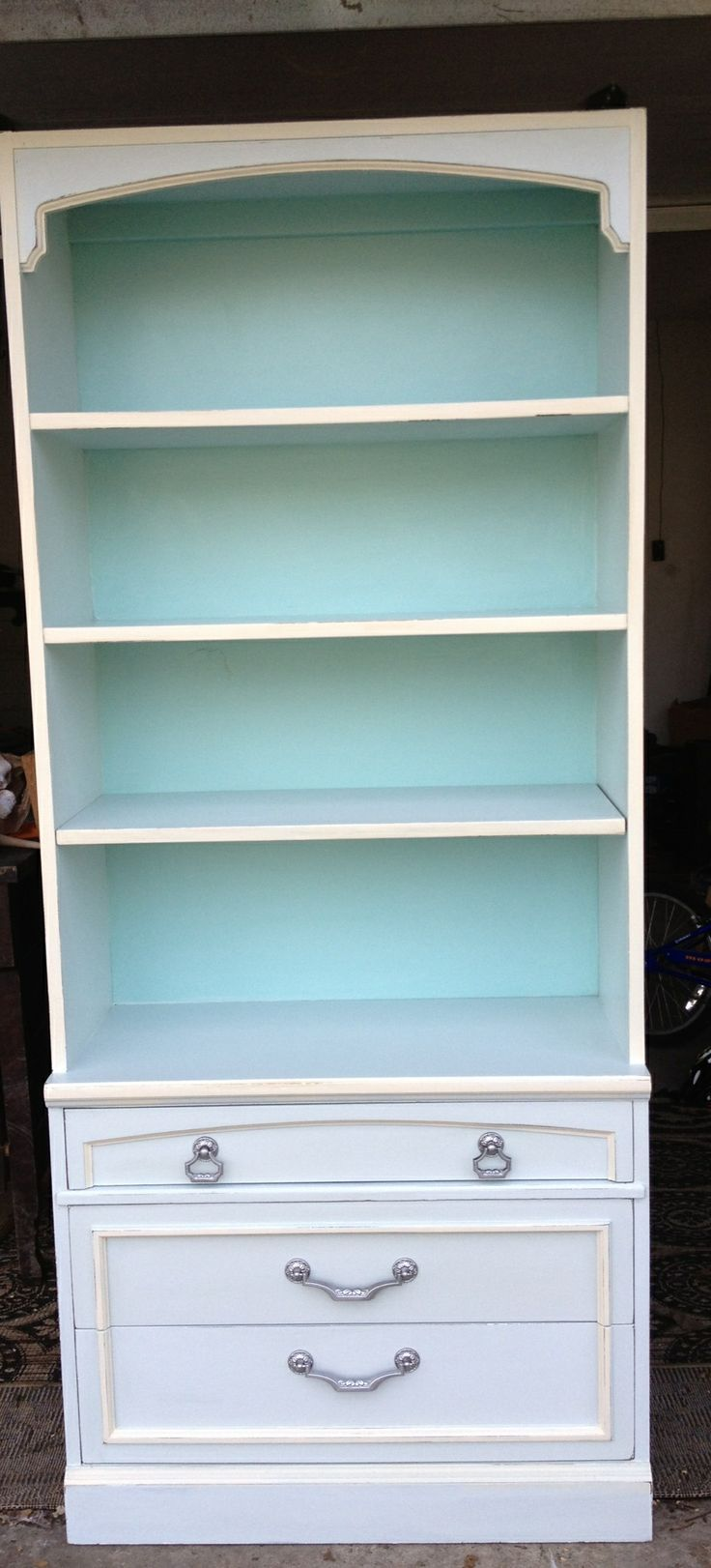 Turquoise / French country painted bookcase https://www.facebook.com/Thepaintedcrowe