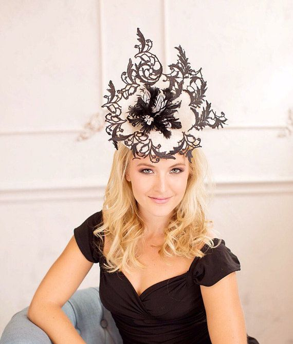 Black and Cream White fascinator as ot by WomenHatAccessories