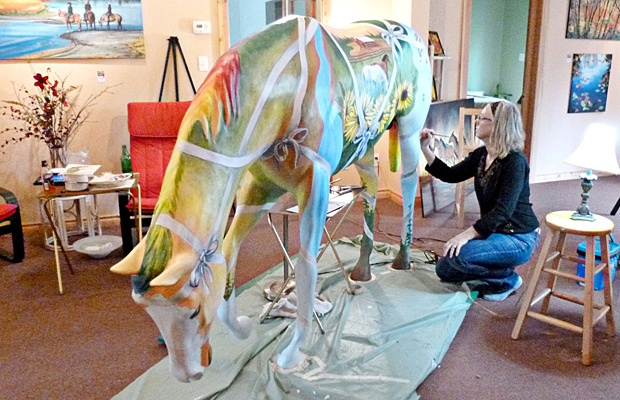Vivian Harder stabled her Horsing Around Langley horse, The Gift Horse, in her Aldergrove home and main floor art gallery while painting it.