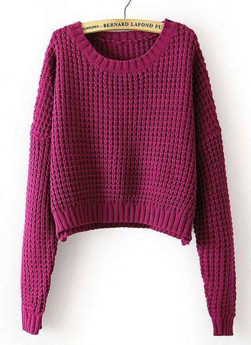 Purple Long Sleeve Corn Kernels Crop Sweater
