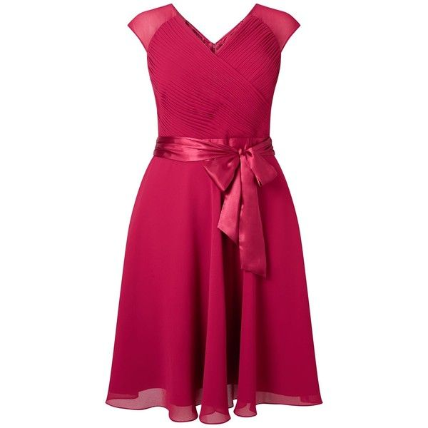 Studio 8 Anya Dress (19765 RSD) ❤ liked on Polyvore featuring dresses, pink, women, chiffon cocktail dresses, pink fit and flare dress, ruched dress, fit and flare bridesmaid dress and fit and flare dress