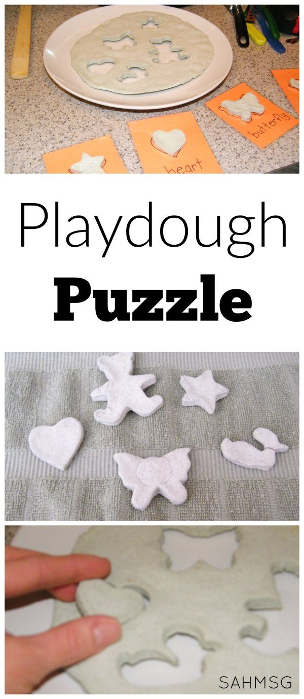 Make a homemade playdough puzzle. A DIY puzzle that uses play dough for the puzzle and pieces.