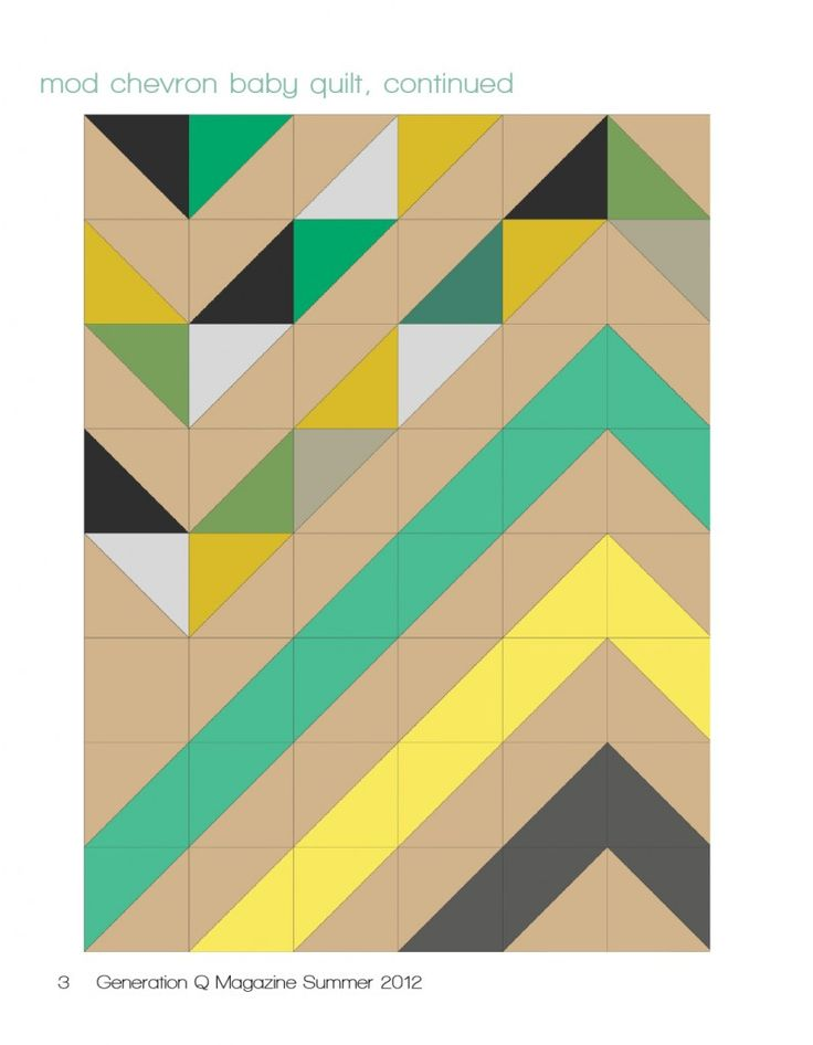 Modern Chevron Baby Quilt: This quilt uses half square triangles.