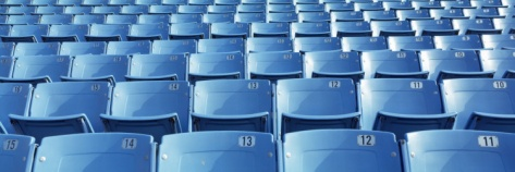Empty Blue Seats in a Stadium, Soldier Field, Chicago, Illinois, USA Photographic Print at Art.com