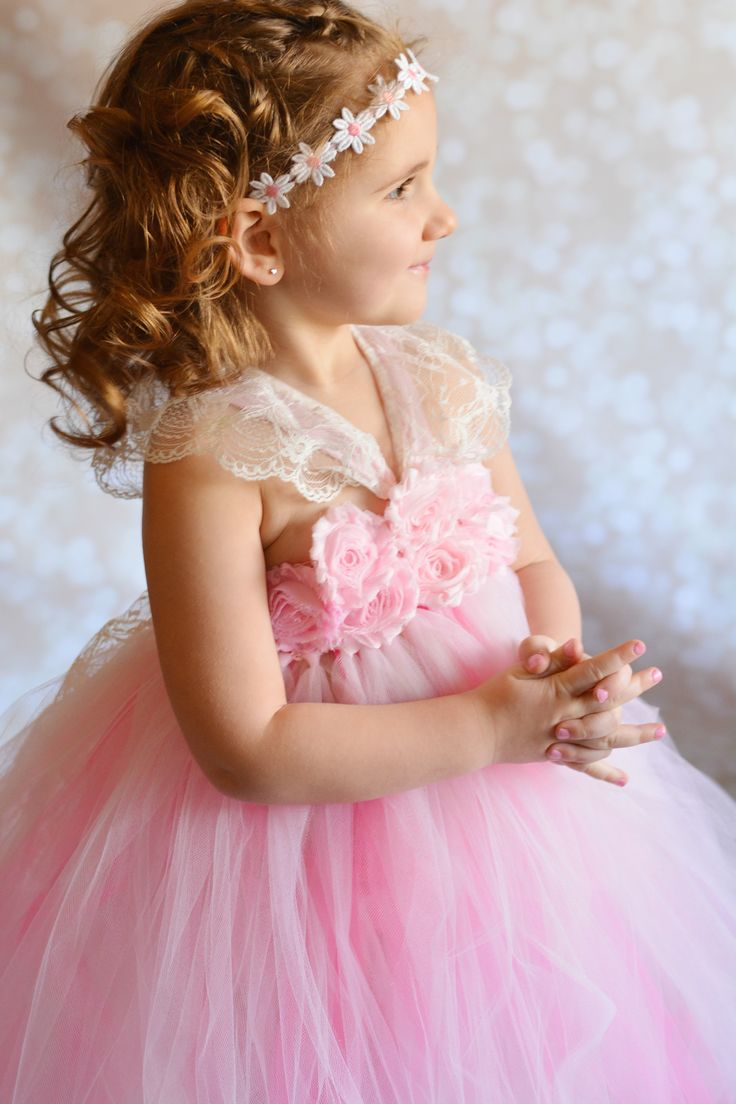 Flower girl tutu dress, pink shabby chic with lace and satin straps by TUTU Maria