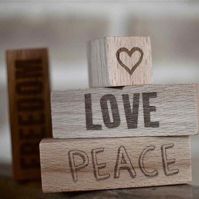 Wooden Story Peace & Love Blocks – made with love by hand in the Beskidy Mountains of Poland from FSC Certified wood. #wooden #peace#love#woodenlove#peacelove#hippy#hippylove#friendly#earth#worldpeace#environent#axistoys#woodenblocks#woodenstory
