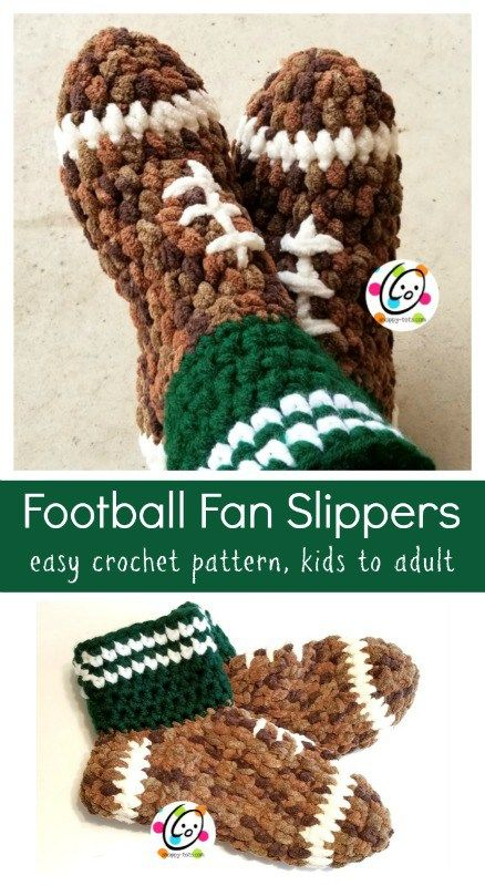 Crochet Pattern: Football Fan Slippers for children to adult. Make as squishy soft everyday slippers too.
