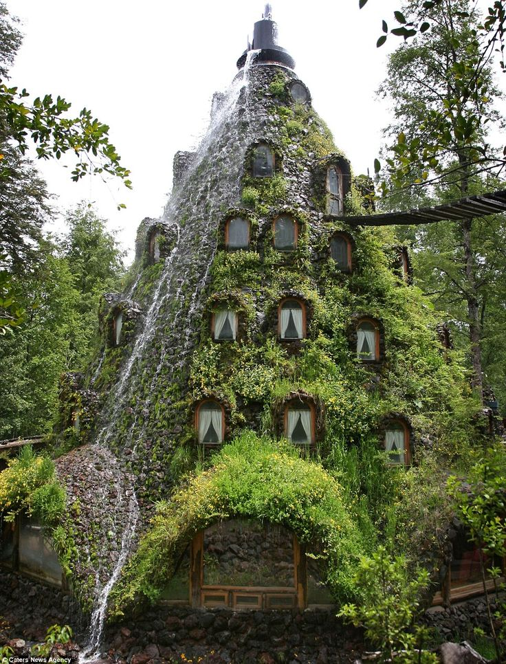 It might be completely artificial but the Montana Magica lodge in Chile even 'erupts' every day, sending water running down the outside of the 13-room guest house