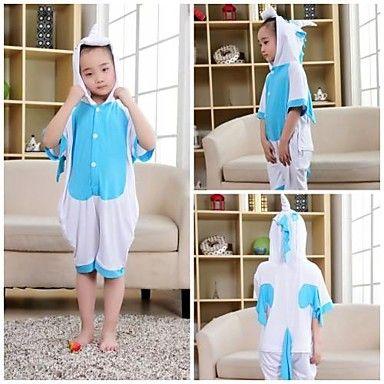 Kids Blue Unicorn Modal Kigurumi Pajama For Summer
