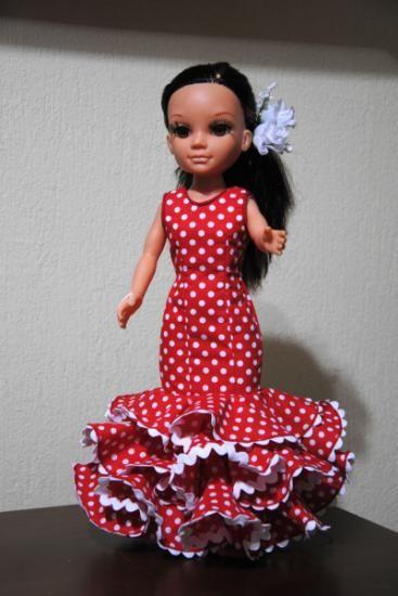 Traje flamenca nancy rojo con lunares blancos