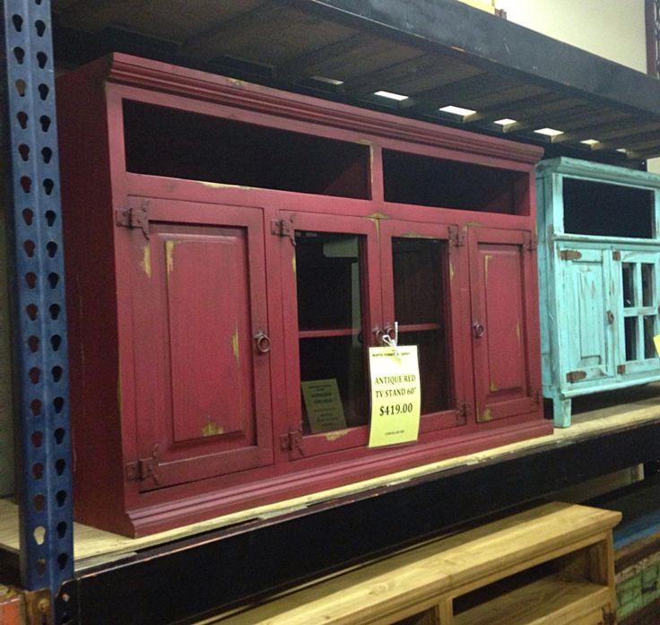 Antique Red Tv Stand   Rustic Furniture Depot $419