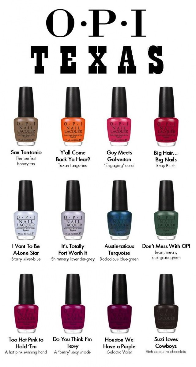 love the names of the Texas Collection by OPI :)