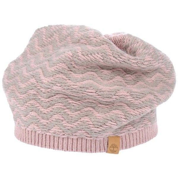 Timberland Hat ($42) ❤ liked on Polyvore featuring accessories, hats, pink, cotton beanie, pink beanie hat, cotton beanie hats, print hats and cotton logo hat
