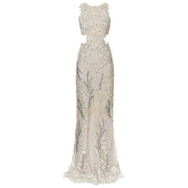 Patricia Bonaldi Embellished Guipure Lace Gown ($2,575) ❤ liked on Polyvore featuring dresses, gowns, white gown, white dress, beaded dress, white beaded evening gown and lace evening gowns