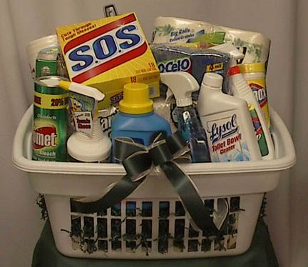 Gift Idea For Someone Moving Into Their First Home (I Actually Received A  Gift Like This For My Wedding Gift  It Also Had A Mop, Broom Dust Pan And  Bucket  ...