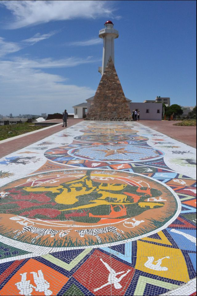 Lighthouse and mosiac in Port Elizabeth, South Africa