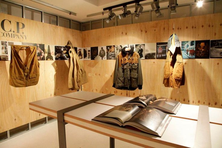 """Great installation of archive pieces and spreads from the Massimo Osti monograph """"Ideas From Massimo Osti"""" at the opening event for C.P. Company's new flagship store in Marshall St in #London"""