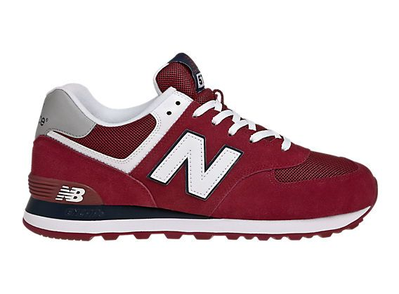 New Balance 574, Burgundy with White & Navy