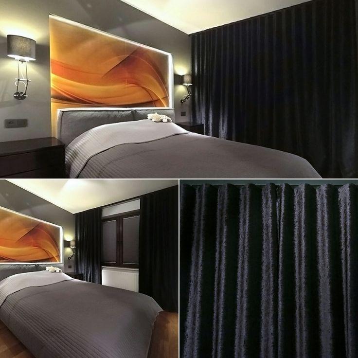 Sypialnia, zasłony, welur, czarny, tkanina Velo, Cosmonowa, Pirate, system Wave, STYLEatHOMEpl, dekoracje okienne, dekoracje tekstylne.